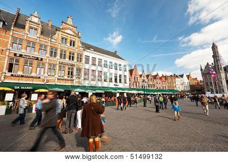 The Main Square Of Bruges, Belgium