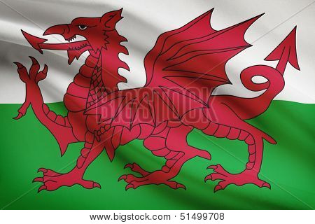 Series Of Ruffled Flags. Wales.