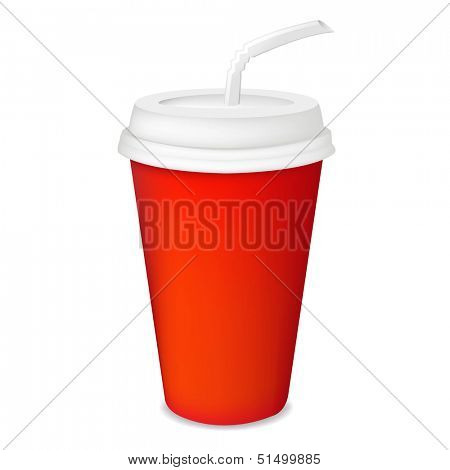 Red Paper Glass With Gradient Mesh, Vector Illustration