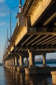 stock photo of dnepropetrovsk  - night bridge on dnepr river in Dnepropetrovsk - JPG