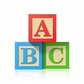 Wooden alphabet cubes with A,B,C letters. Vector.