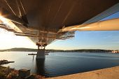 stock photo of flatboat  - Bridge support reacing out