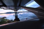 foto of flatboat  - under the bridge viewing supports
