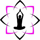 stock photo of surya  - Yoga fitness with abstract lotus icon for business - JPG
