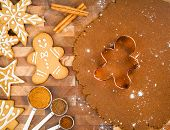 stock photo of ginger bread  - Traditional Christmas Gingerbread cookies - JPG