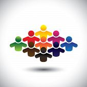 stock photo of united we stand  - abstract colorful group of people or students or children  - JPG