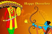 pic of dussehra  - vector illustration of Rama killing Ravana in Happy Dussehra - JPG