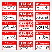 stock photo of dork  - An assortment of Hello my name is temporary sticker lapel badges that are editable in vector format - JPG