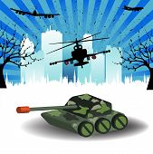 stock photo of attack helicopter  - Colorful illustration with tank - JPG