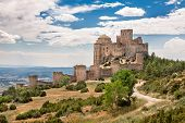 stock photo of fortified wall  - Loarre Medieval Castle in Huesca - JPG