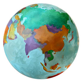 pic of eastern hemisphere  - Globe of the Earth featuring the Eastern Hemisphere including the Middle East Korea China Russia India Isreal Japan and other Countries - JPG