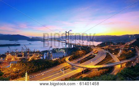 Sunset at Tsing Ma Bridge , hong kong landmark