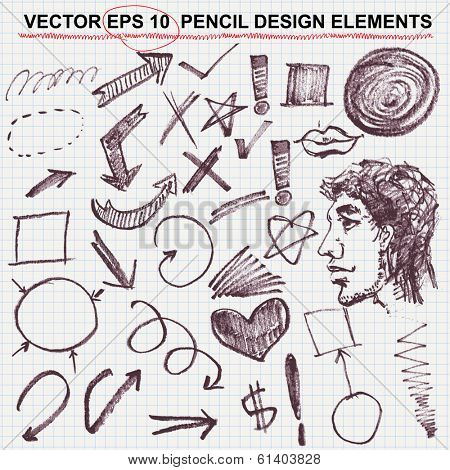 Hand drawn circles, vector design elements