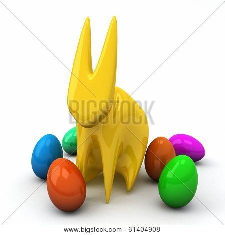 Stylized Easter rabbit with Easter eggs, 3d