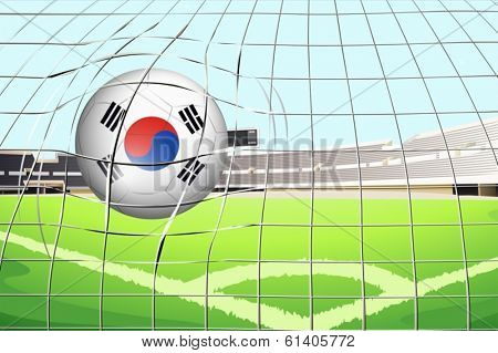 Illustration of a soccer ball with the South Korean flag