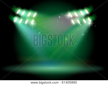 Illustration of a stage with spotlights