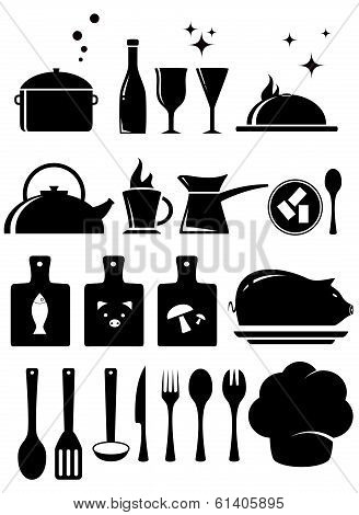 set kitchen tools silhouetted