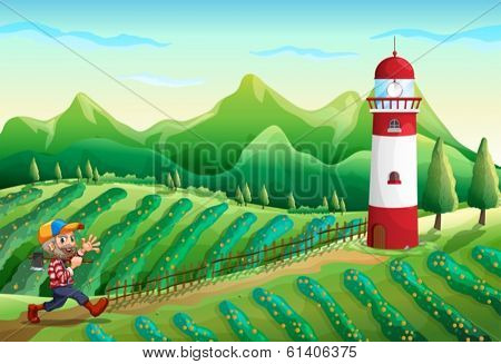 Illustration of a farm with a tower and a lumberjack