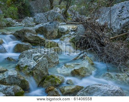 The waterfall of Nidri in Lefkas island Greece