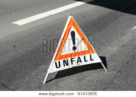 Accident Warning Sign At The Street