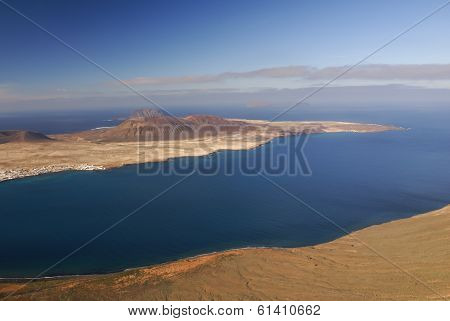 View To La Graciosa Island From Mirador Del Rio. Lanzarote, Canary Islands, Spain.