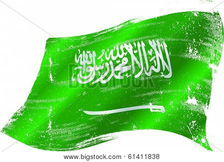 A grunge Saudi Arabian flag for you in the wind