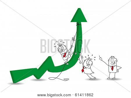 three businessmen are trying to pull a rope to straighten an arrow. It's a metaphor of the good results and economic development