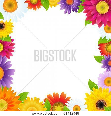 Colorful Gerbers Flower Frame, With Gradient Mesh, Vector Illustration