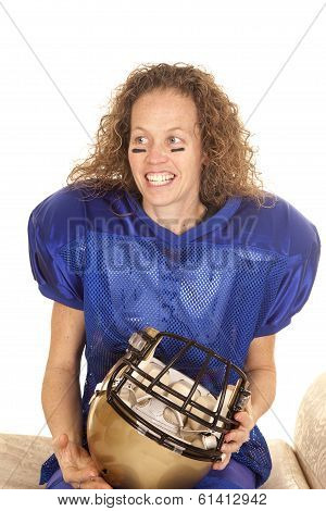 Woman Hold Football Helmet Look Side