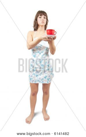 Young Sexy Maid With Tea Cup