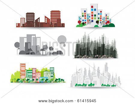 City illustration set. Vector