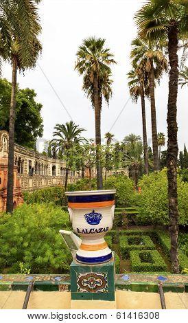 Urn Pot Garden Alcazar Royal Palace Seville Spain