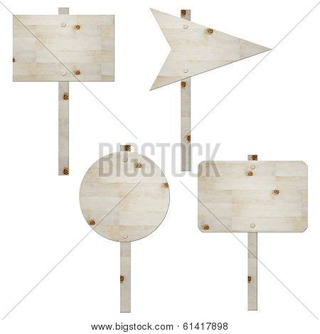 Wooden Signboard Isolated On White , Road Sign
