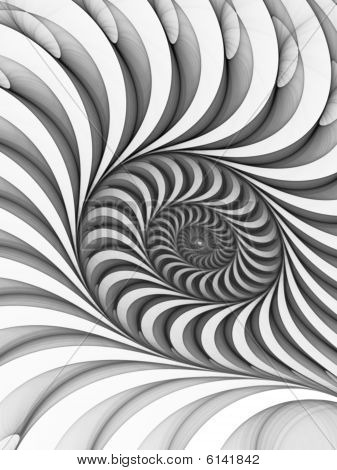 Monochrome White to Black Bas Relief Spiral