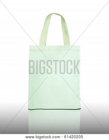 White Cotton Bag On Reflect Floor And White Background