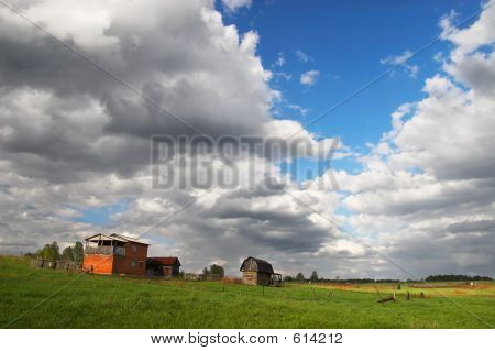 Country House And Spring Sky.