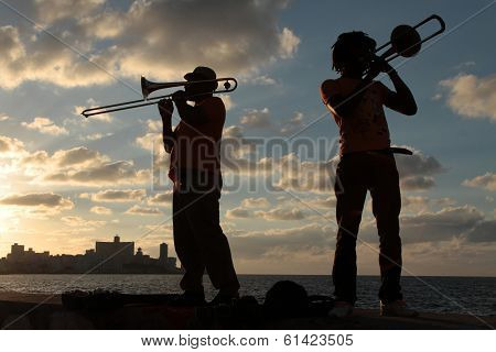 Musicians in the sunset of Havana