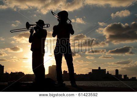 Musicians in the sunset of Havana
