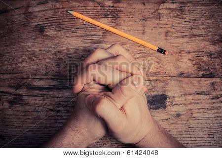 Praying Hands And Pencil