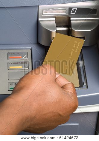 South African Or African American Drawing Cash Money At Atm