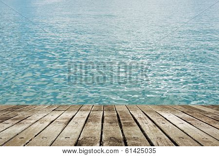 Landscape of beautiful lake with wooden ground.