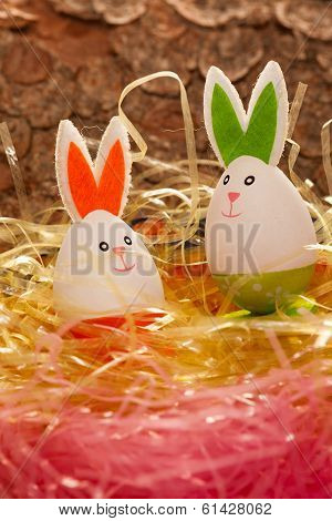 Colorful Easter nest with two eggs