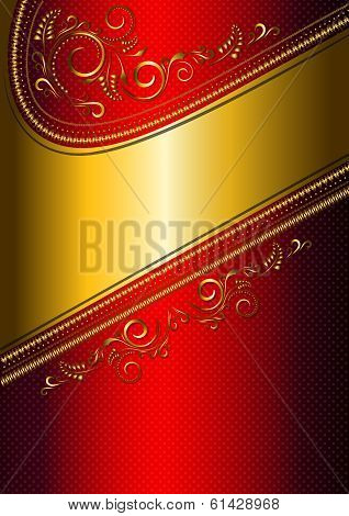 Festive red card with gold border and gold pattern.