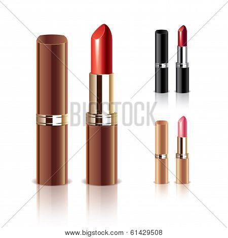 Lipstick Isolated On White Vector Set