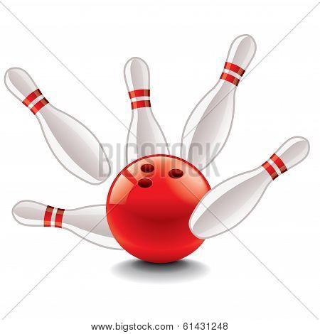 Bowling Ball And Pins Vector Illustration