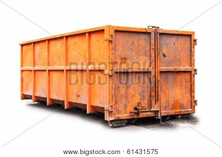 Big Metal Orange Trash Container Isolated On White