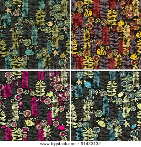 Set of colorful seamless patterns with flowers.