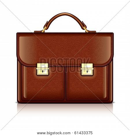 Brown Leather Briefcase Vector Illustration