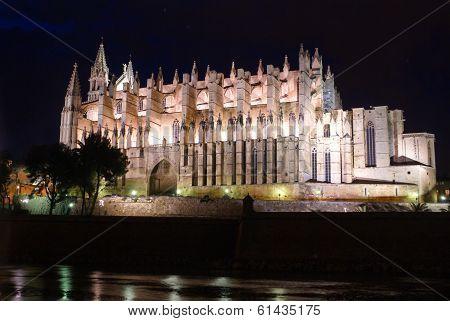 Cathedral Of Palma De Mallorca La Seu Night View