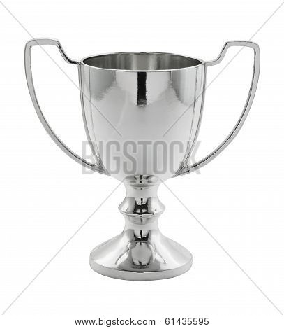 Silver Winning Trophy On White